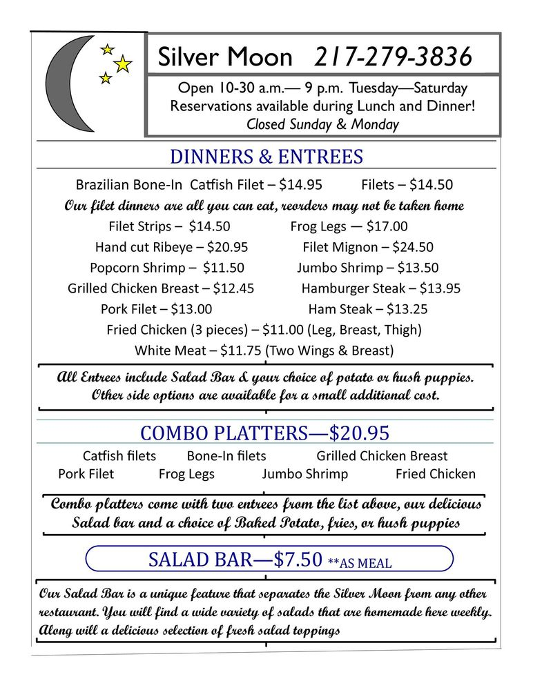 Silver Moon Restaurant: 230 N State Hwy 1, West Union, IL