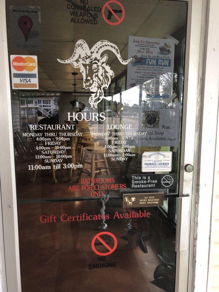 Goat Island Restaurant & Lounge: 9645 Wash Davis Rd, Summerton, SC