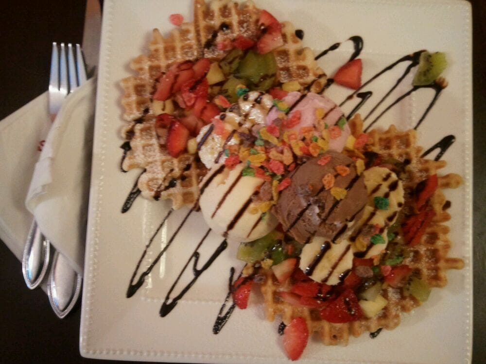 Belgian Waffle With Ice Cream And Fruit
