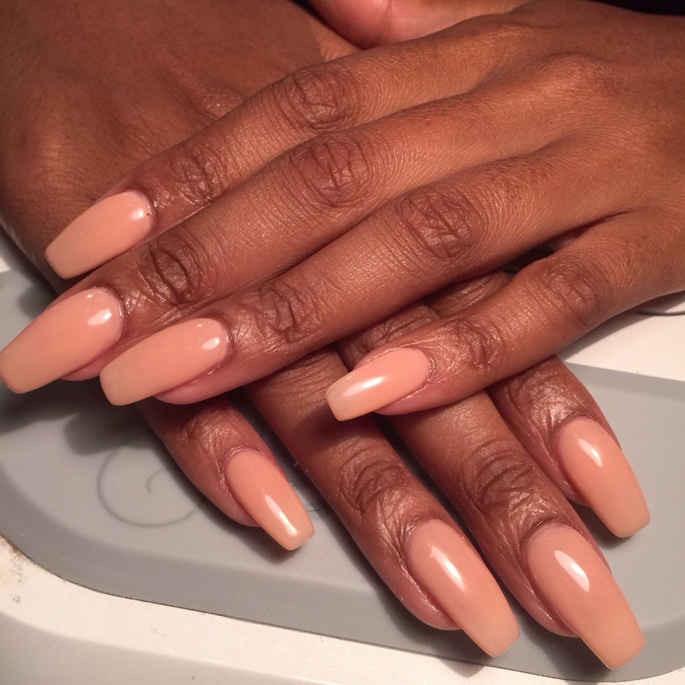 Fullset with ballerina shape and gel nude color. Done by Jessica. - Yelp