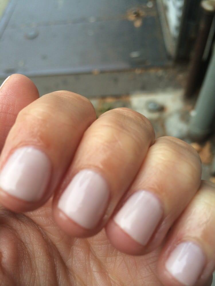 Crooked nails and large gap between nail polish and cuticles, taken ...
