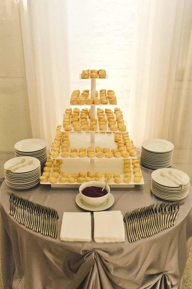 Gooey Butter Cake tower with fruit drizzle at our wedding (photo ...