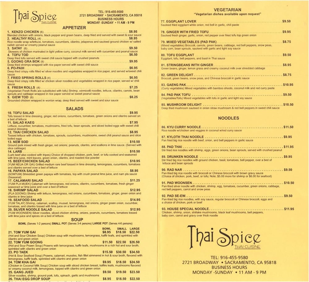 Being of page of the menu yelp for 8 spices thai cuisine menu