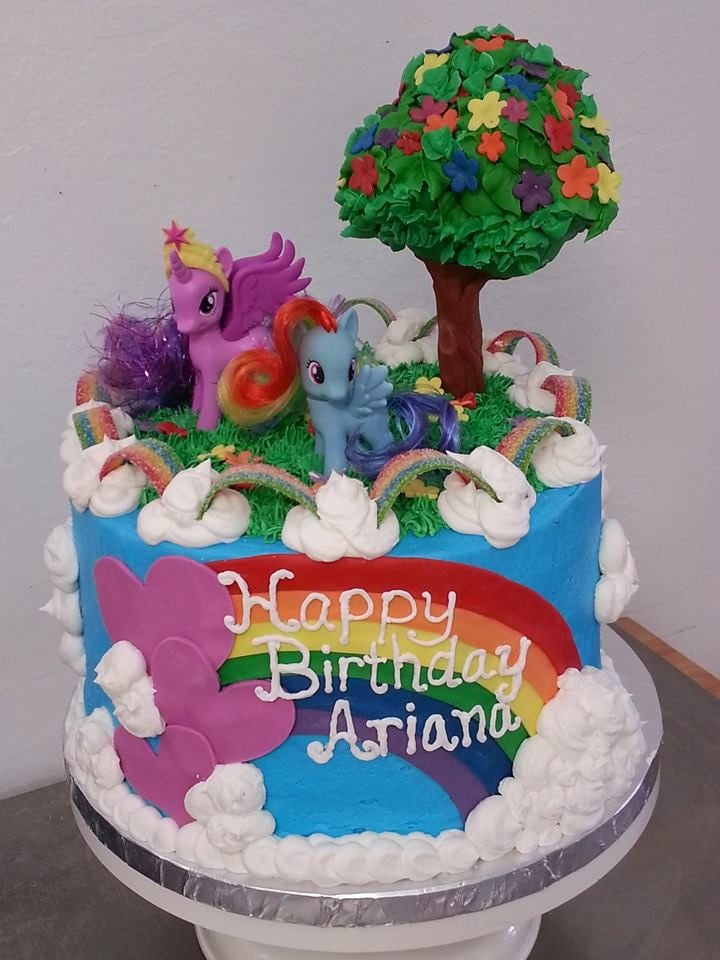 My Little Pony birthday cake with blue buttercream gumpaste tree