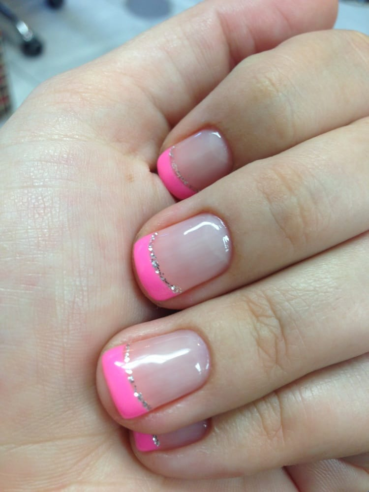 Gel mani - Pink French tips with sliver accent. - Yelp