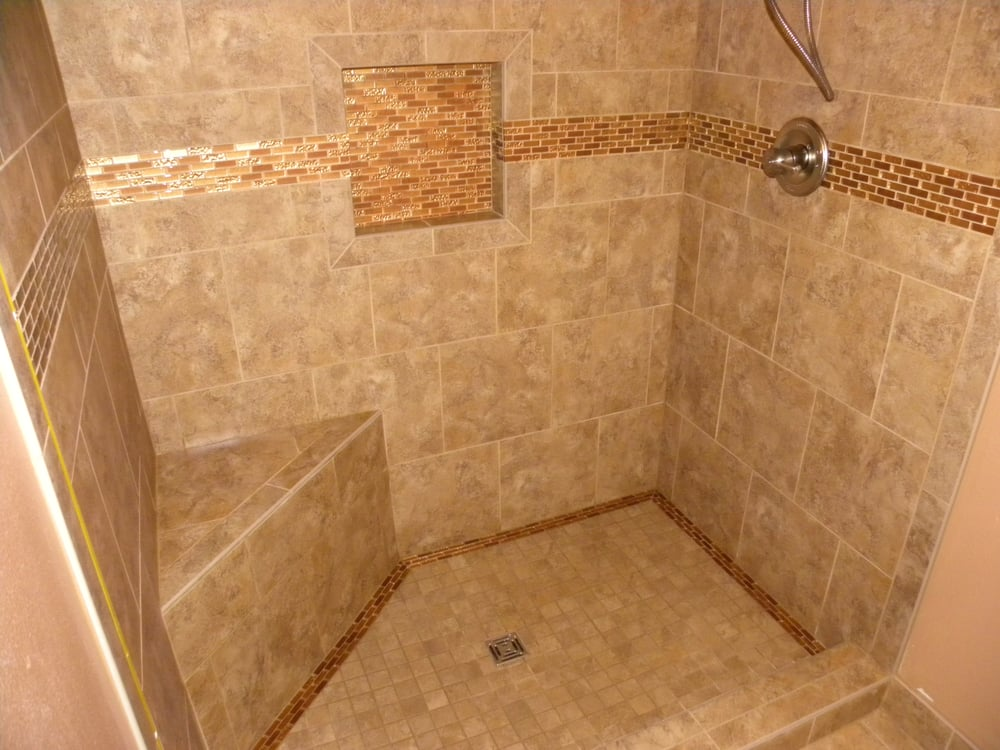Tile Shower Built With Wedi System Including Curb Bench