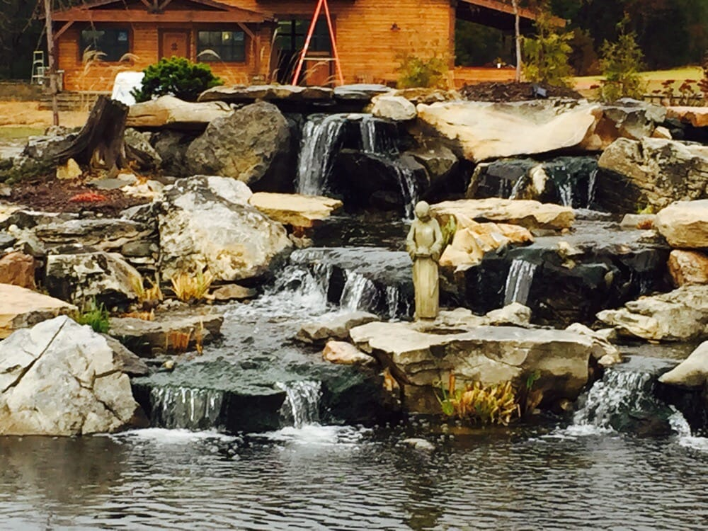 Large recreational pond and waterfall that adds beauty and for Large pond waterfall