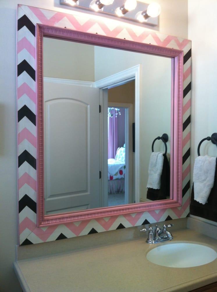Chevron frame mirror frame kit bathroom mirror frames - Mirror frame kits for bathroom mirrors ...