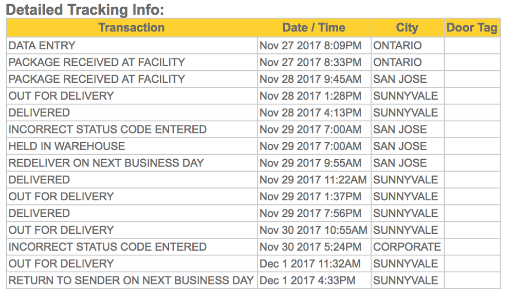 OnTrac tracking information - see how messed up it is  See