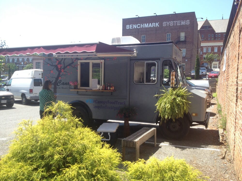 The canopy food truck parked in lot beside scene