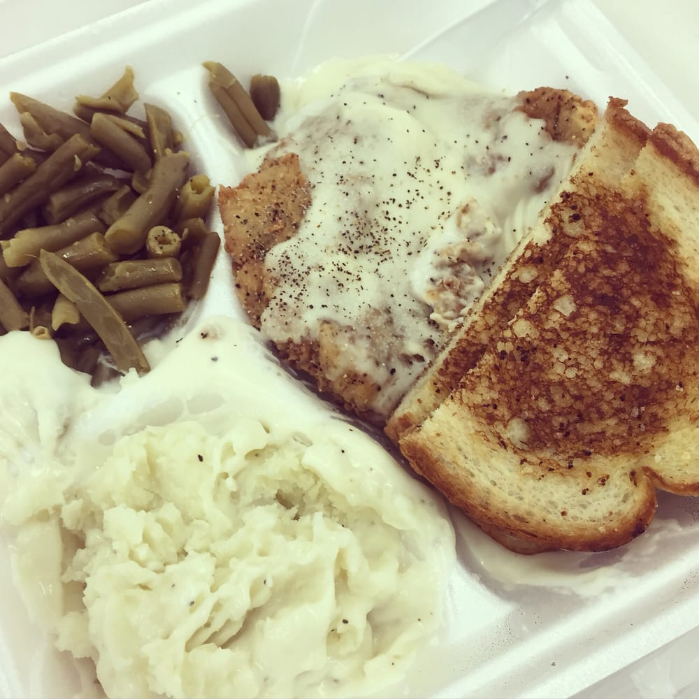Country-fried Steak With Toast, Mashed Potatoes, And Green
