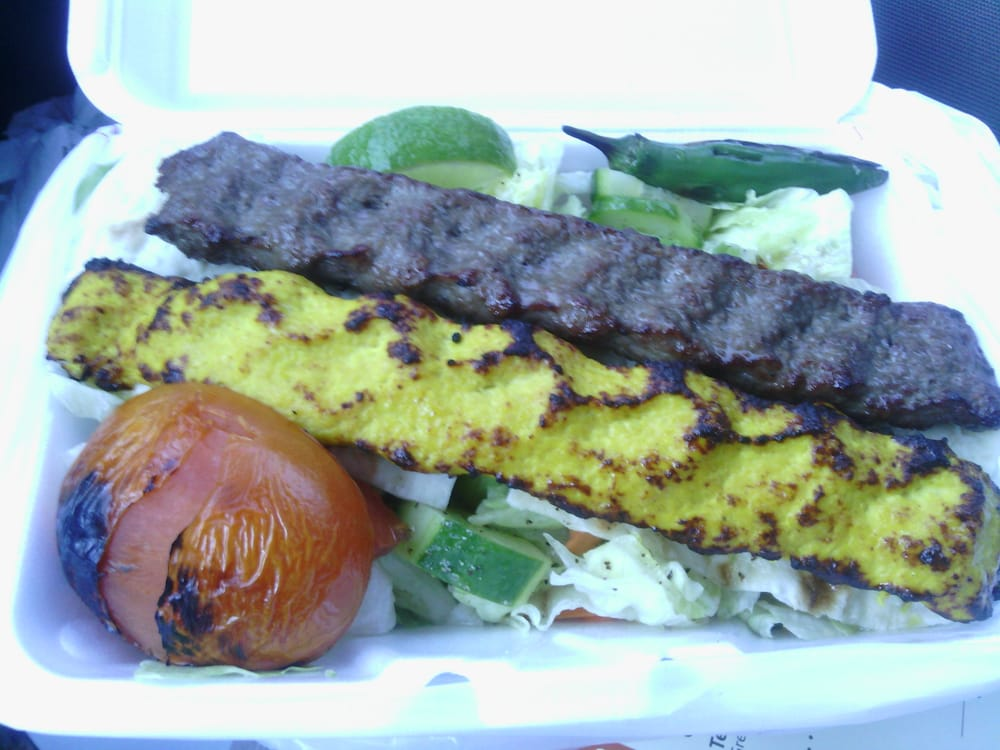 Takeout one chicken kabob one beef kabob sub salad for for Aria persian cuisine