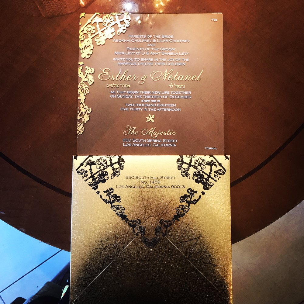 Clear Plexiglass Wedding Invitation With Gold Specialty Paper