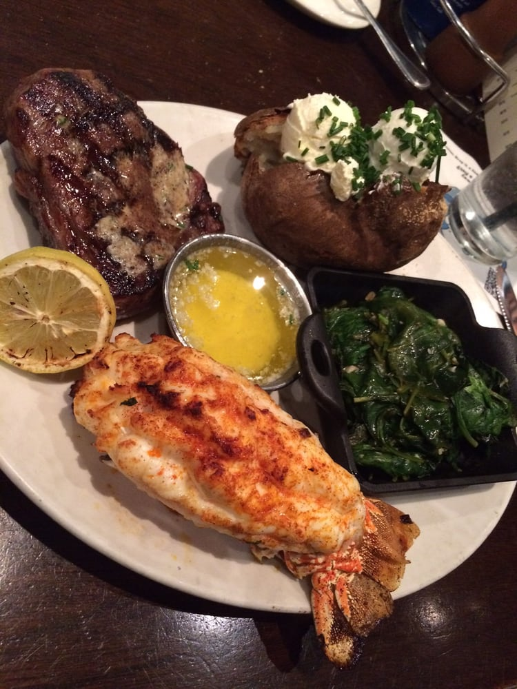 Chewy lobster tail but the sirloin was cooked perfectly for King s fish house laguna hills