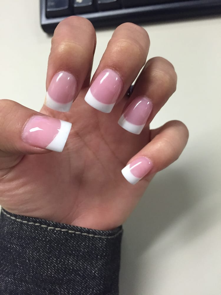 Medium pink gel manicure French tip - Yelp