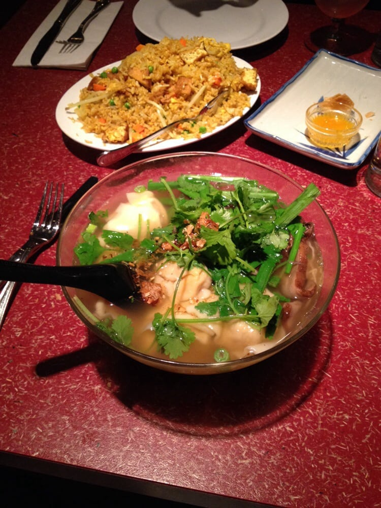 Giant bowl of noodle soup with added wontons + portobellos ...