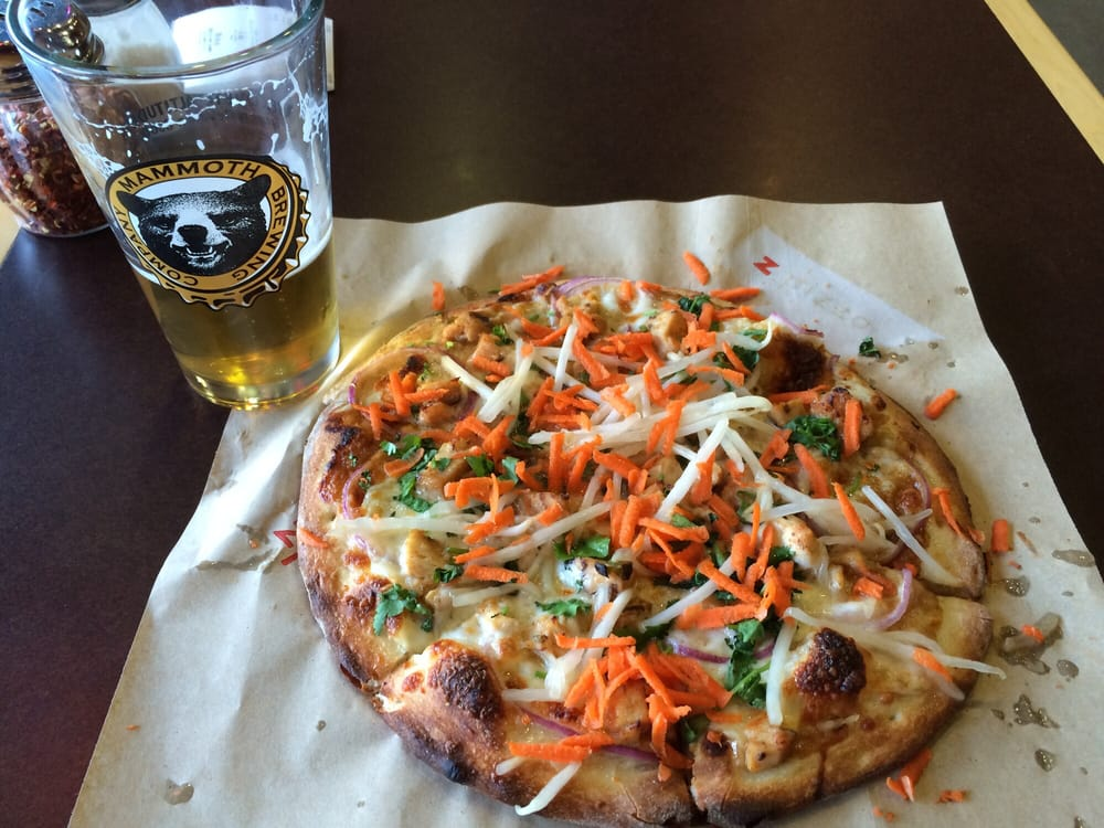 Z Pizza Mammoth Menu Thai chicken pizza, wi...