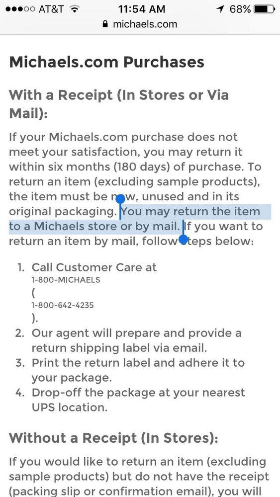 This Is Michaels Return Policy That The Store Manager In The Wayne