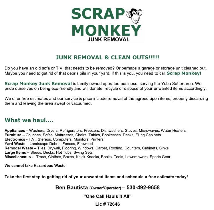 Scrap monkey junk removal junk removal hauling yuba city ca scrap monkey junk removal junk removal hauling yuba city ca phone number yelp reheart Choice Image