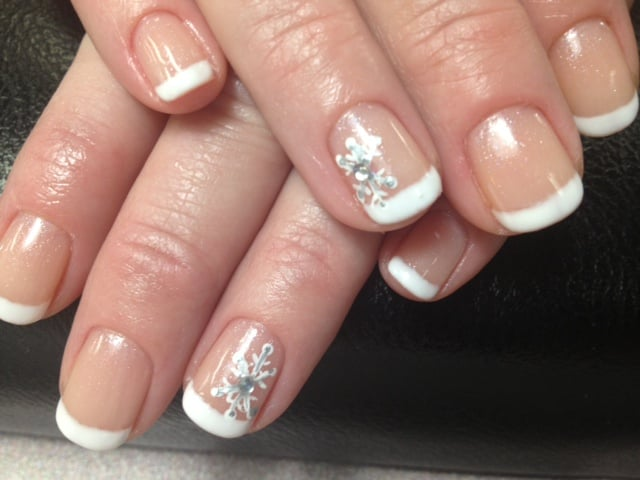 Gelish French Manicure With Hand Painted Snowflake Nail Art For