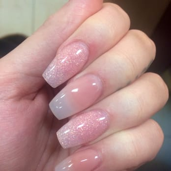 Clear Tone Pink Acrylic Coffin Nails Wwwpicturessocom