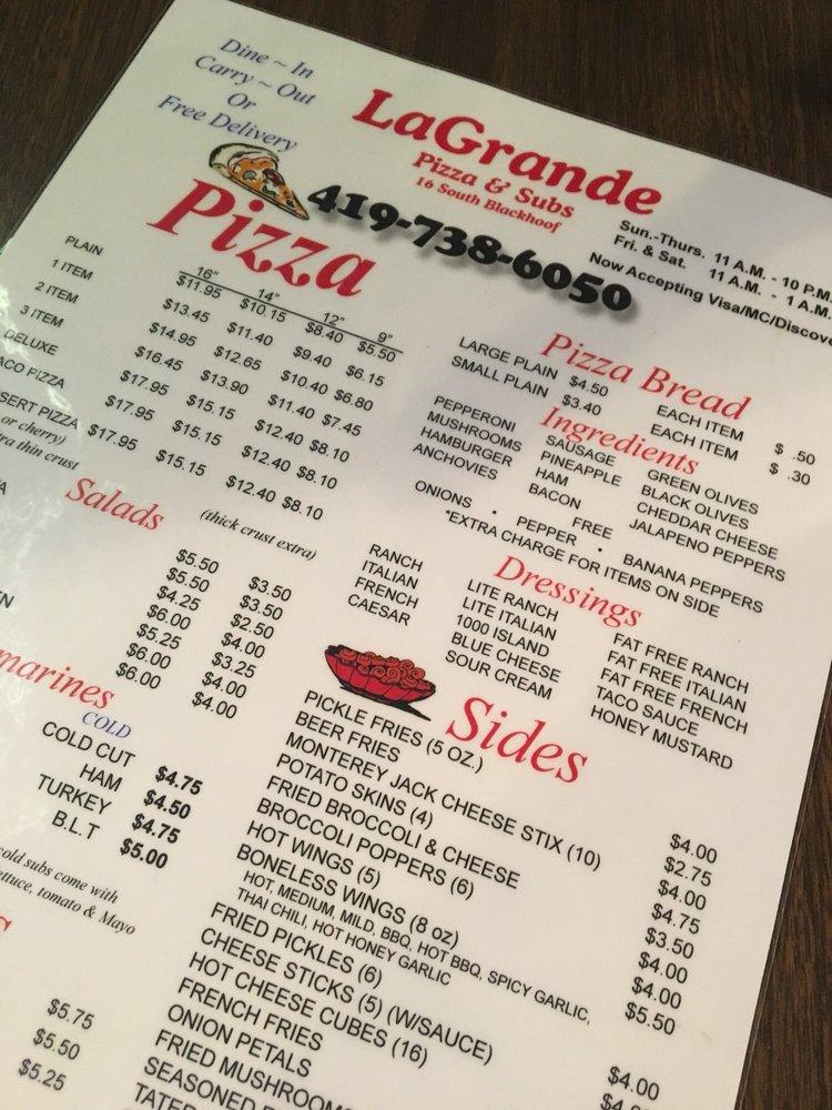 La Grande Pizza: 16 S Blackhoof St, Wapakoneta, OH