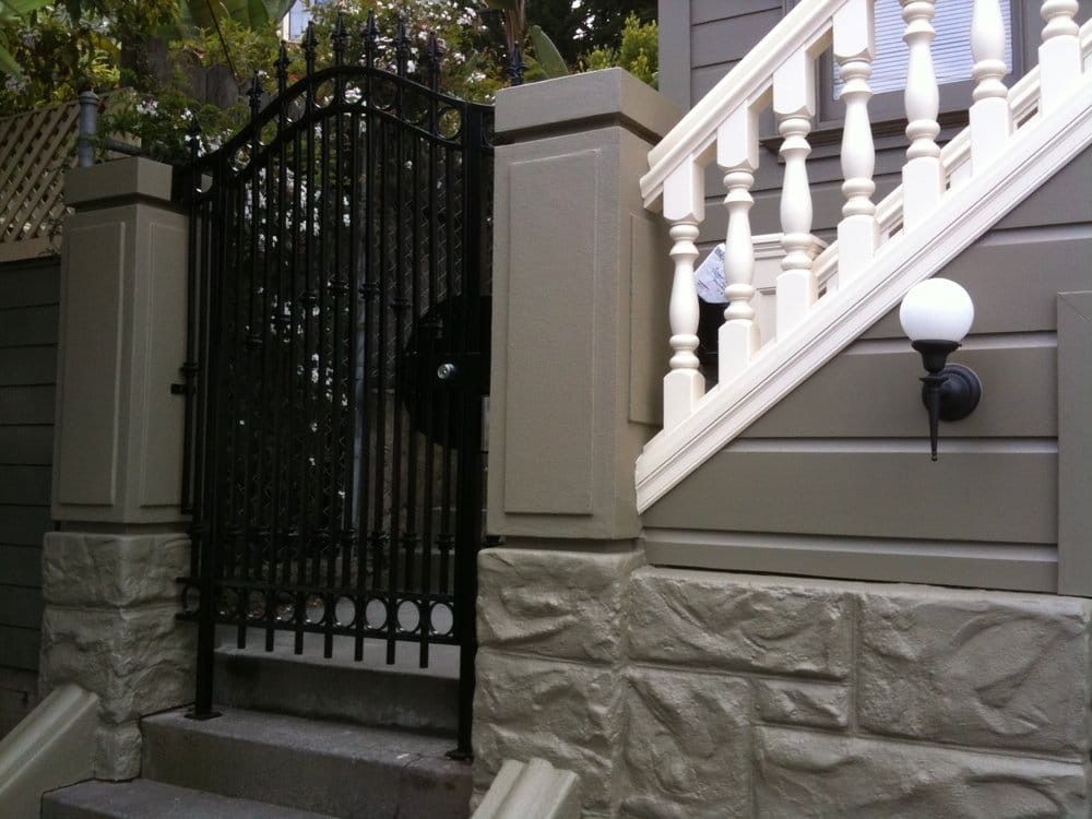 New Exterior Stairs Railing Front Gate And Decorative Concrete