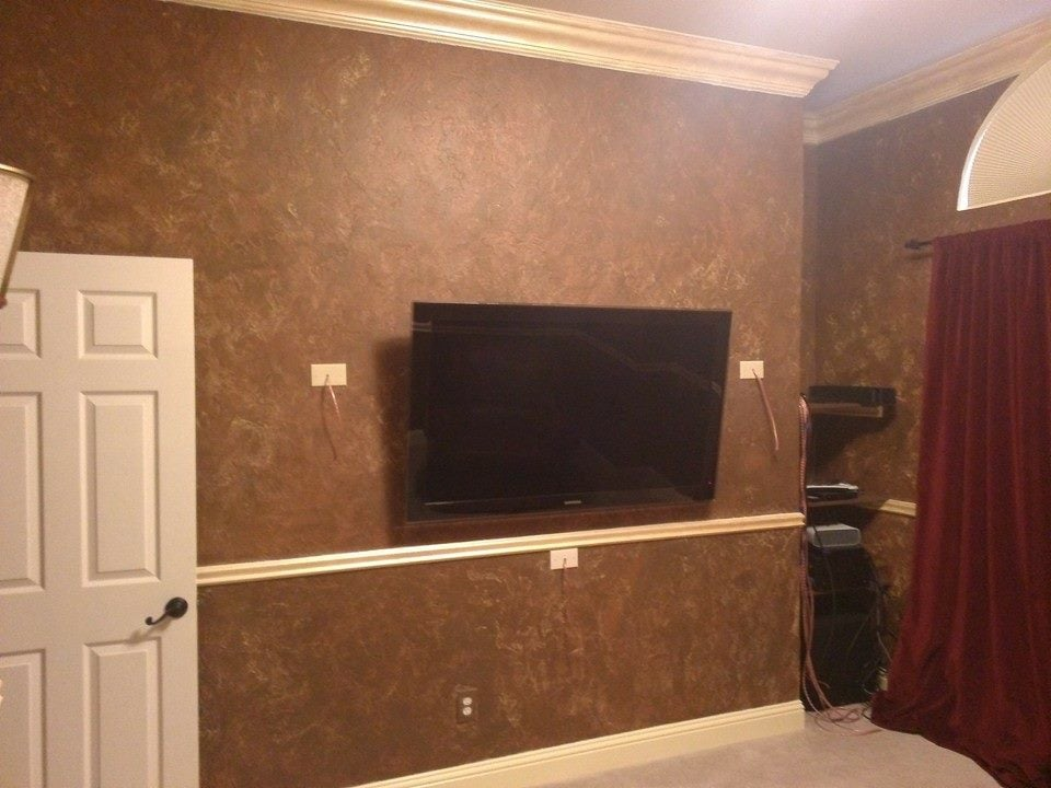 Man cave with custom crown molding and chair rail faux for 9 inch crown molding
