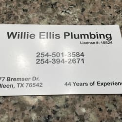 Willie ellis plumbing plumbing 477 bremser dr killeen tx photo of willie ellis plumbing killeen tx united states simple business card reheart