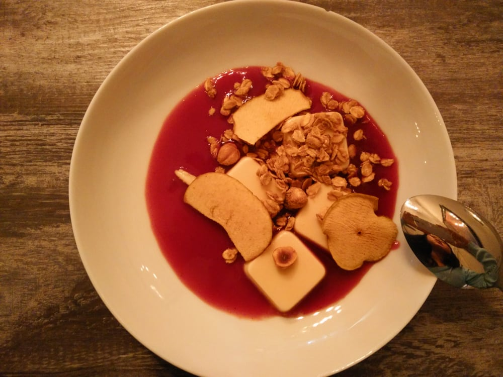 panna cotta with hibiscus granola and apple chips yelp. Black Bedroom Furniture Sets. Home Design Ideas