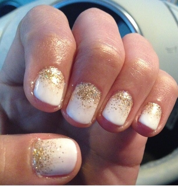 Off White Shellac Manicure With A Gold Glitter Ombré Warning I