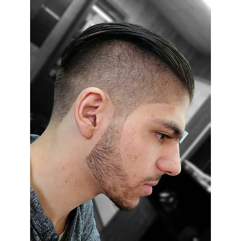 Undercut with razor sharp natural beard lineup haircut by photo of da lounge barbershop los angeles ca united states undercut with urmus Image collections