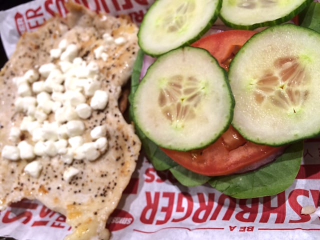 Spinach, cucumber and goat cheese chicken sandwich w/tomato, onion and ...