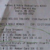 photo of barnes noble bowie md united states receipt for ornament