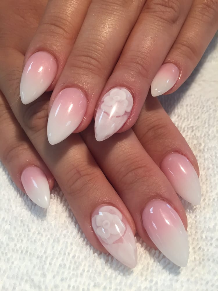 Ombre French Nails Almond Shape Papillon Day Spa