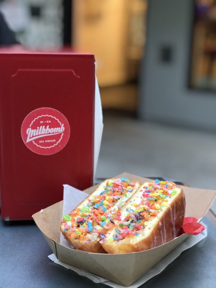Birthday Cake Milkbomb Sandwich With Fruity Pebbles Topping Served