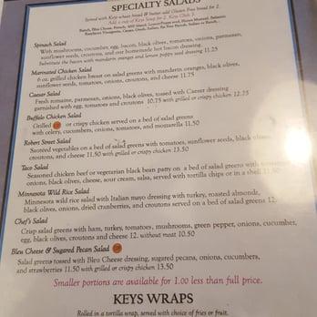 Keys Cafe Menu Roseville
