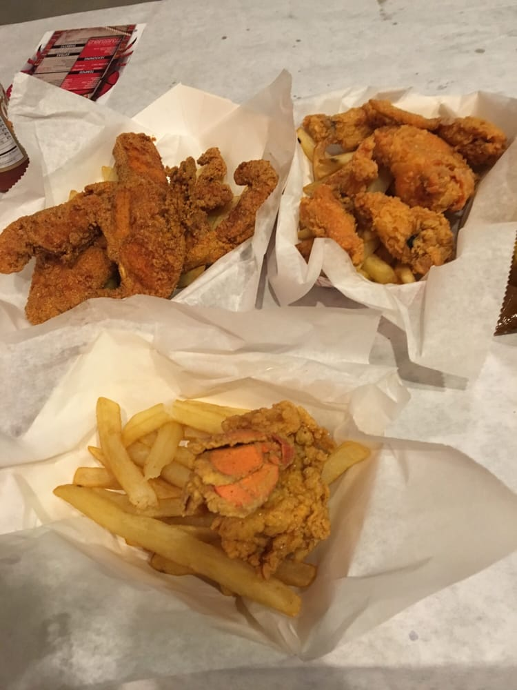 Fried lobster up front to the side wings and cat fish yelp for Two fish crab shack