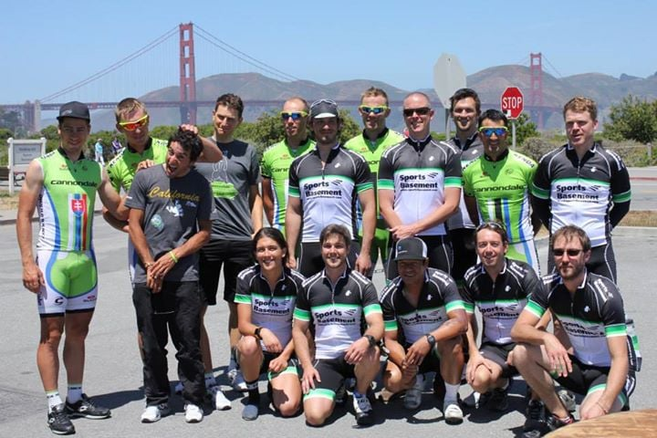 cannondale and sports basement bike riders in front of golden gate