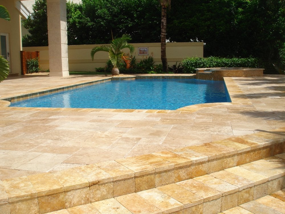 Gold Travertine French Pattern Complete Pool Tile