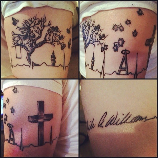 memorial tattoo for my dad wv state tree and specific memories along the hearbeat and. Black Bedroom Furniture Sets. Home Design Ideas