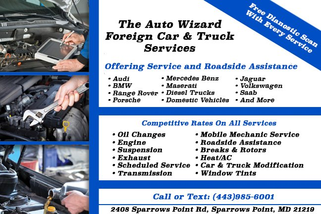 The Auto Wizard Foreign Car & Truck Service: 2408 Sparrows Point Rd, Sparrows Point, MD