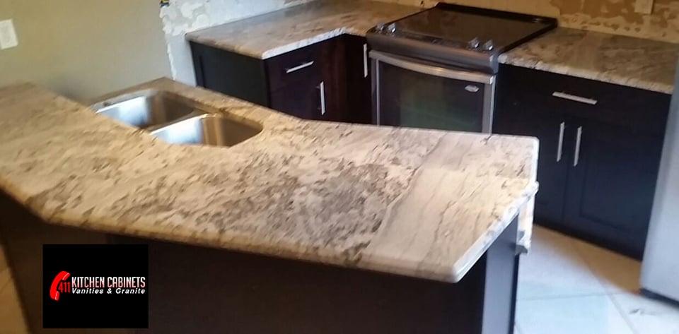 Renovation kitchen espresso shaker kitchen island for Granite countertop support requirements