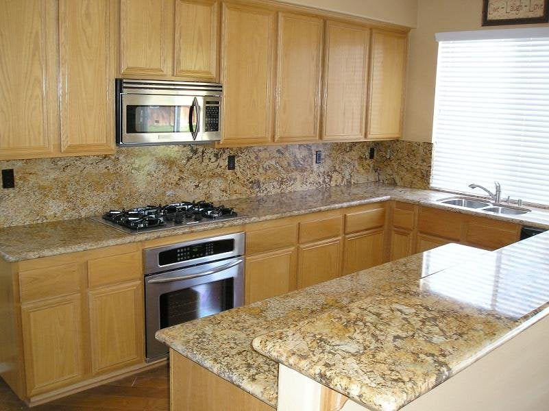 Kitchen Backsplash Height exotic granite with full height back splash in kitchen - yelp