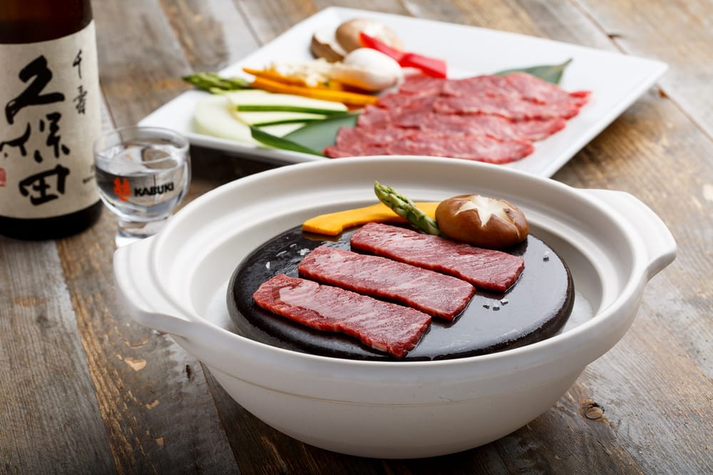 wagyu beef served on hot stone grill ishiyaki yelp. Black Bedroom Furniture Sets. Home Design Ideas