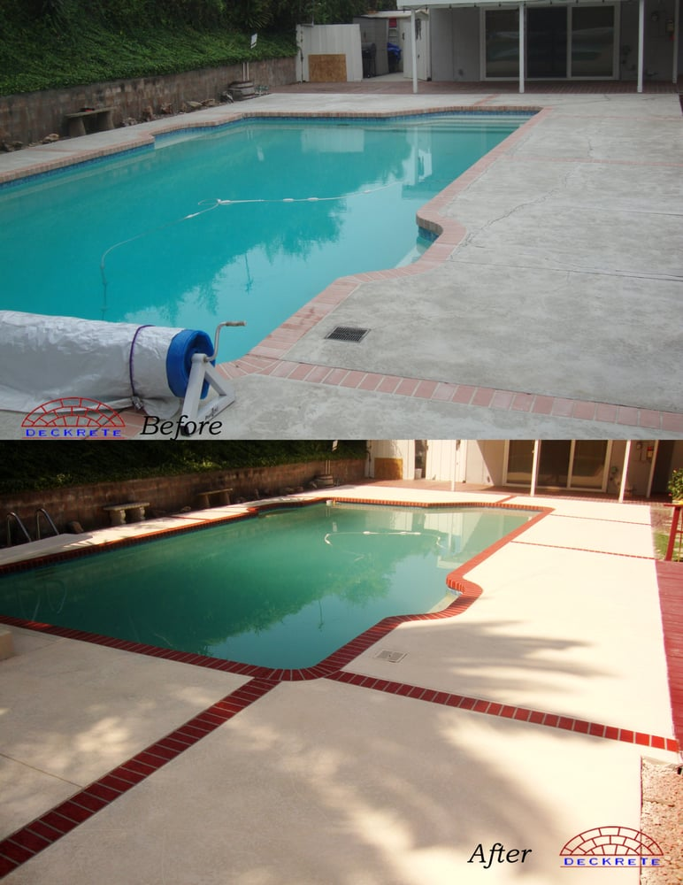 Before After Pool Deck Knock Down Texture Concrete