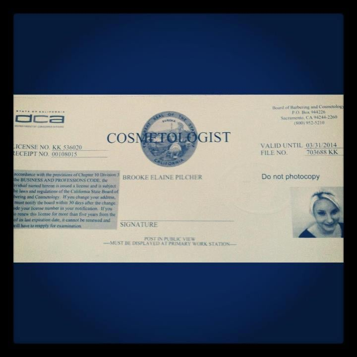 My Cosmetology license! - Yelp