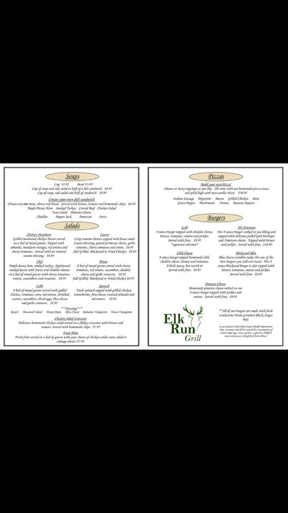 Elk Run Grill: 1820 Charlestown Pike, Jeffersonville, IN