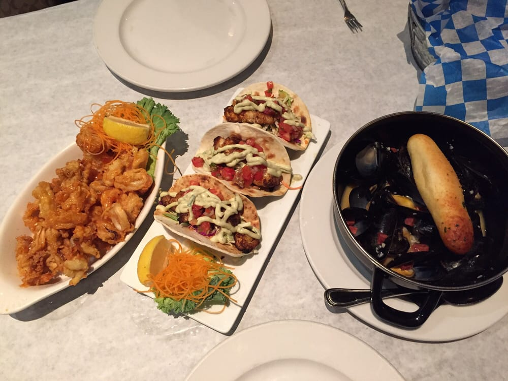 Opted for a mix of things calamari fish tacos pot of for Two fish crab shack