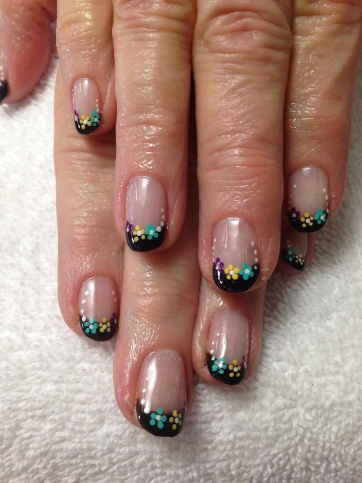 Black Gelish French Manicure, with floral nail art design. - Yelp